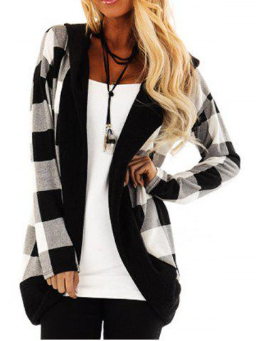 Hooded Plaid Open Front Cardigan