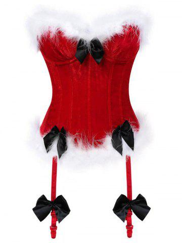 Back Lace Up Fluffy Velvet Corset with Garters - CHERRY RED - S
