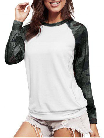 Sweat-shirt Cousu Camouflage à Manches Raglan