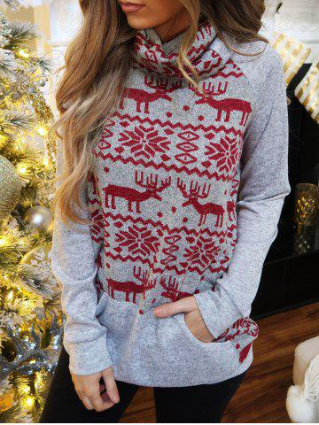 Turtleneck Christmas Elk Graphic Heathered Sweatshirt