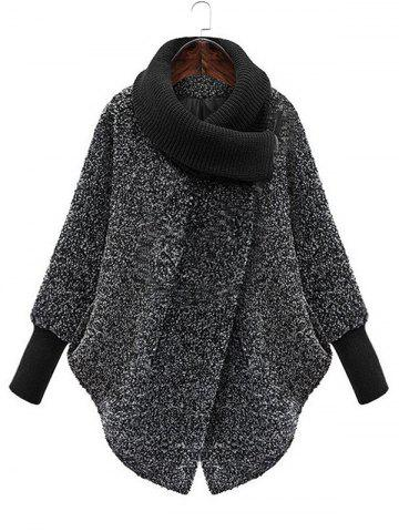 Snap Button Cowl Neck Textured Coat