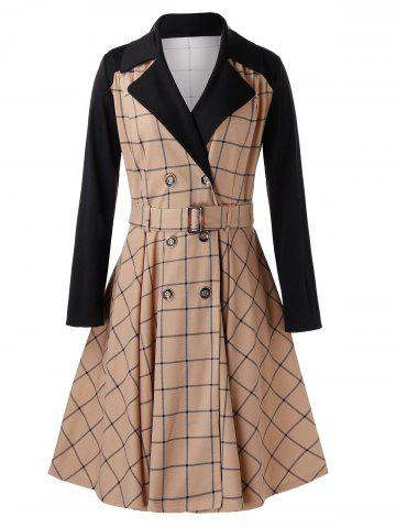 Plus Size Grid Contrast Sleeve Trench Coat
