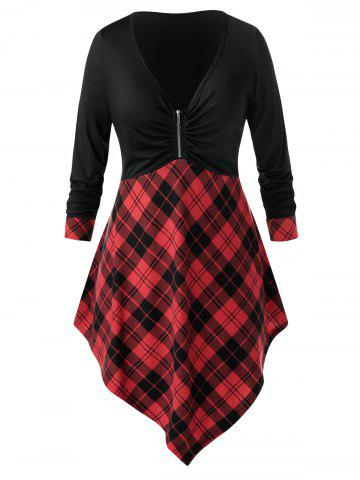 Plus Size Plaid Asymmetrical Zip Plunge Long Sleeve Tee