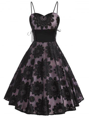 Floral Lace Overlay Lace-up Sleeveless Party Dress