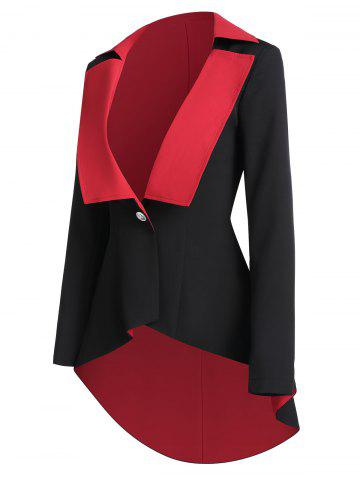 Two Tone One Button High Low Jacket - BLACK - XL