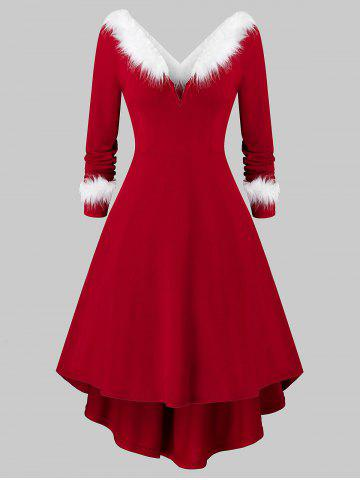 Plus Size Christmas Asymmetrical Faux Fur Panel Knitted Dress - RED WINE - L