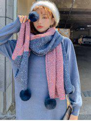 Colorblock Tassel Ball Warm Scarf -