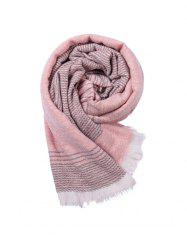 Striped Warm Fringe Faux Cashmere Scarf -