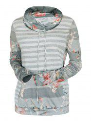 Cowl Neck Striped Flower Print Long Sleeve Tee -