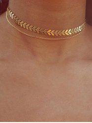 Arrow Chain Double Layer Choker Necklace -