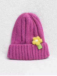 Winter Flower Turn Up Edge Knitted Hat -
