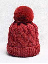Turn Up Edge Braided Knitted Bobble Hat -