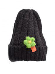 Winter Floral Turn Up Edge Knitted Hat -