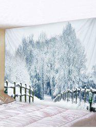Snow Forest Bridge Road Print Tapestry Wall Hanging Art Decoration -