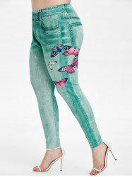 Plus Size Butterfly Print Skinny 3D Jeggings -