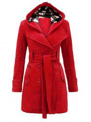 Belted Detachable Hood Double Breasted Plus Size Wool Blend Coat -