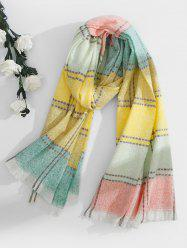 Checkered Fringed Long Scarf -