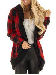 Hooded Plaid Open Front Cardigan -