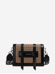Double Belt Houndstooth Shoulder Bag -