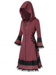 Plus Size Hooded Flounce Lace Up Coat -