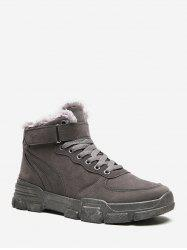 Hook Loop Lace Up Brushed Cargo Boots -