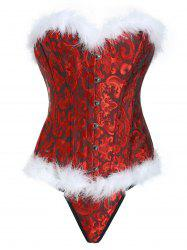 Fluffy Steel Boned Jacquard Corset Set -