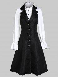 Halter Jacquard Lace-up Dress with Poet Sleeve Half Button Top -