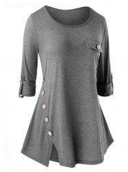 Plus Size Button Embellished Slit Long Sleeve T-shirt -