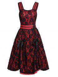 Bowknot Rose Lace Party Dress -