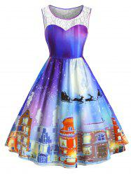 Plus Size Christmas Vintage Castle Print Party Dress -