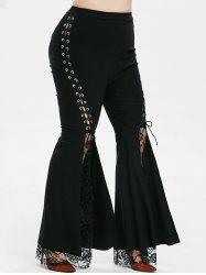 Lace Panel High Waisted Lace Up Plus Size Flare Pants -