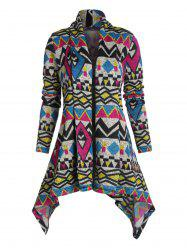Tribal Pattern Open Front Hanky Hem Cardigan -