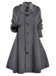 Knitted Sleeve Button Up Wool Blend Plus Size Coat -