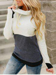 Cowl Neck Drawstring Colorblock Sweatshirt -