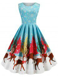 Plus Size Christmas Print Vintage 1950s Dress -