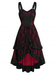 Buckle Strap Lace-up Layered Flower Lace Gothic Dress -