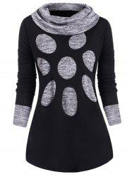 Plus Size Cowl Neck Space Dye Cut Out Tunic Tee -