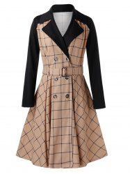 Plus Size Grid Contrast Sleeve Trench Coat -