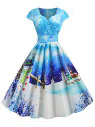 Plus Size Christmas Vintage Snowman Print Party Dress -