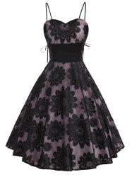 Floral Lace Overlay Lace-up Sleeveless Party Dress -