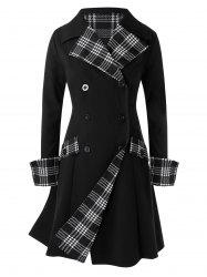 Plus Size Checked Splicing Double-reasted Coat -