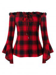 Plus Size Bell Sleeve Plaid Off Shoulder T Shirt -