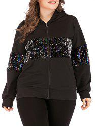 Cat Hood Zip Front Colorful Sequined Plus Size Hoodie -