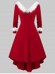 Plus Size Christmas Asymmetrical Faux Fur Panel Knitted Dress -