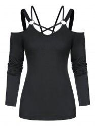 Cold Shoulder Strappy O-ring T-shirt -