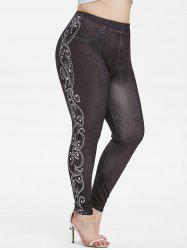 Pull On Colorful Dots 3D High Waisted Plus Size Jeggings -