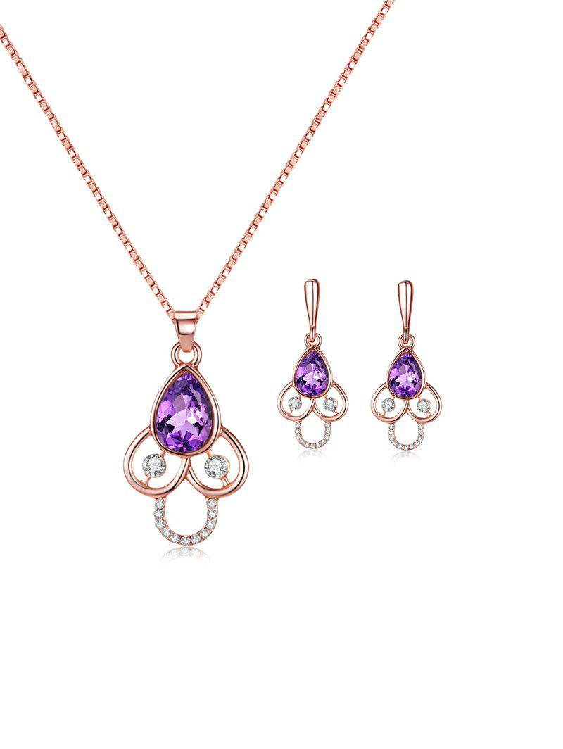 Affordable Faux Gem Rhinestone Teardrop Necklace and Earrings
