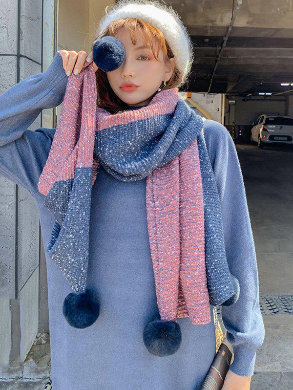 Fashion Colorblock Tassel Ball Warm Scarf