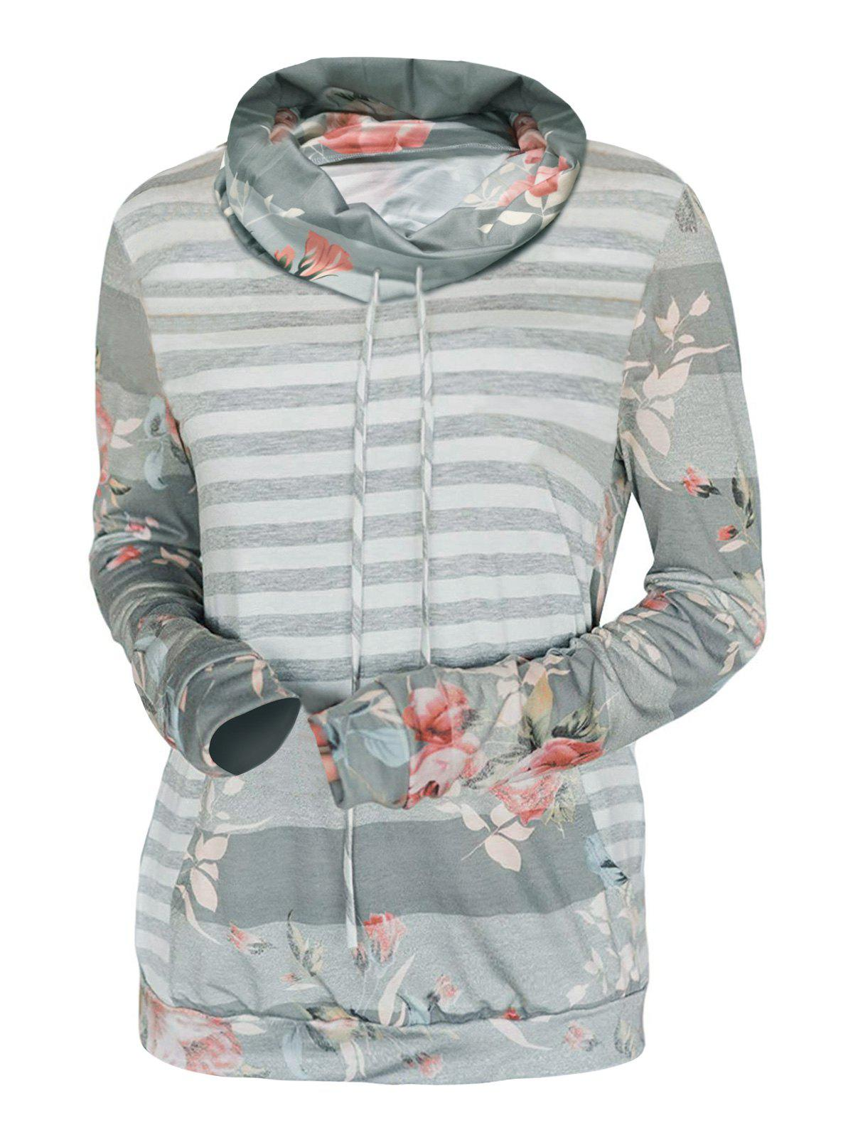 Shop Cowl Neck Striped Flower Print Long Sleeve Tee