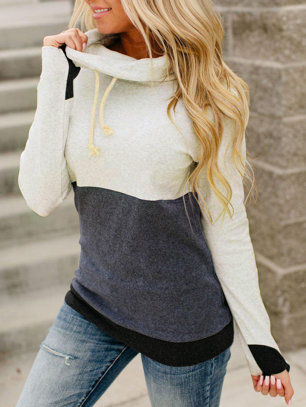 Hot Cowl Neck Drawstring Colorblock Sweatshirt